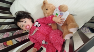 Isla with her Build-a-Bear bunny, which we named Isobella (Bella for short)!