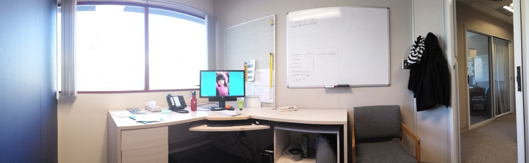 My office. Of course that's Isla as my desktop background ;)
